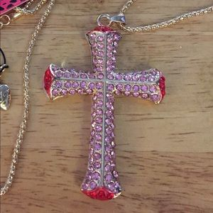 🆕🌹 Shiny Red Rhinestone Cross